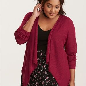 Torrid Plus Size Red Long Sleeve Drape Cardigan